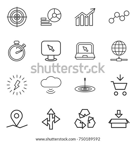 thin line icon set : target, diagram, graph, stopwatch, monitor arrow, notebook, globe connect, lightning, cloud wireless, add to cart, geo pin, route, recycling, package #750189592
