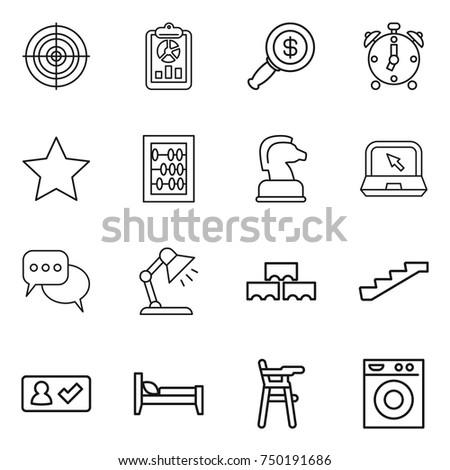 thin line icon set   target ...