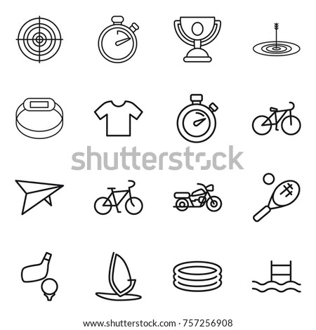Thin line icon set : target, stopwatch, trophy, smart bracelet, t shirt, bike, deltaplane, motorcycle, tennis, golf, windsurfing, inflatable pool