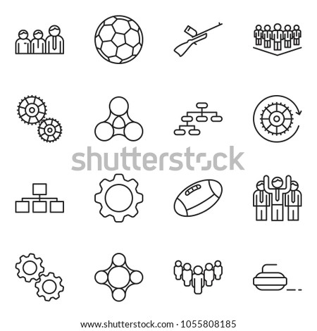 thin line icon set - team vector, hierarchy, gear, group, social, friends, soccer, football, paintball, curling