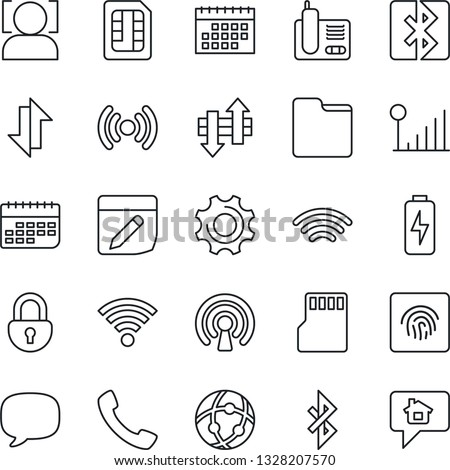 Thin Line Icon Set - term vector, radio phone, call, message, settings, sd, sim, network, folder, notes, data exchange, wireless, bluetooth, lock, face id, fingerprint, cellular signal, charge, home