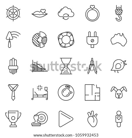 thin line icon set - tie vector, sand clock, stamp, coffee, crisis, circle chart, trowel, drawing compass, winch, plan, rabbit, bird, power plug, bulb, australia, hospital bed, heart, lifebuoy, play #1059932453