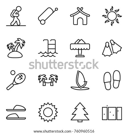 Thin line icon set : tourist, suitcase, bungalow, sun, island, pool, restaurant, flippers, tennis, palm hammock, windsurfing, slippers, spruce, clean window