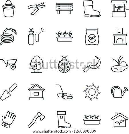 Thin Line Icon Set - trowel vector, watering can, wheelbarrow, bucket, pruner, glove, boot, lawn mower, lady bug, house, seedling, sun, well, hose, sickle, axe, bench, fireplace, pond, fertilizer