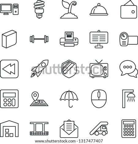 thin line icon set   tv vector