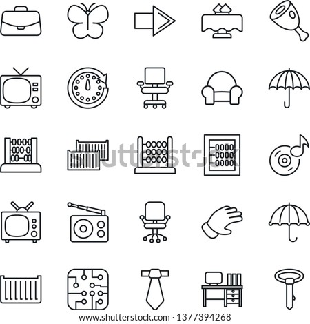 Thin Line Icon Set - tv vector, right arrow, office chair, case, abacus, desk, glove, butterfly, cargo container, umbrella, radio, music, cushioned furniture, restaurant table, ham, chip, clock, tie