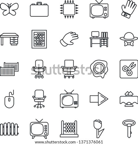 Thin Line Icon Set - tv vector, right arrow, office chair, case, abacus, mouse, desk, stamp, fence, glove, butterfly, cargo container, tulip, cut, restaurant table, dress code, chip, tie