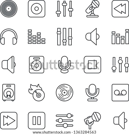 Thin Line Icon Set - vinyl vector, flame disk, microphone, speaker, settings, equalizer, headphones, pause button, stop, fast forward, rewind, rec, tuning, record, sound