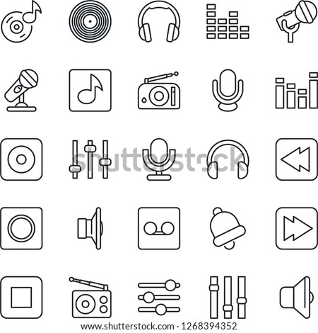 Thin Line Icon Set - vinyl vector, microphone, radio, speaker, settings, equalizer, headphones, stop button, fast forward, rewind, rec, tuning, bell, record, music, sound