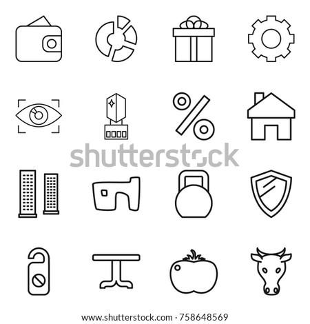 thin line icon set   wallet