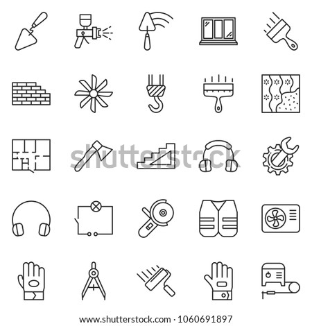 thin line icon set - wide putty knife vector, wrench gear, wiring, trowel, angle grinder machine, airbrush, window, stairways, drawing compass, winch, paint roller, wallpaper, headphones, work glove