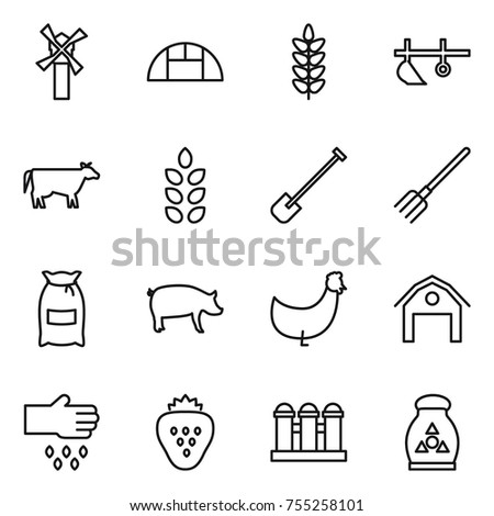 thin line icon set   windmill