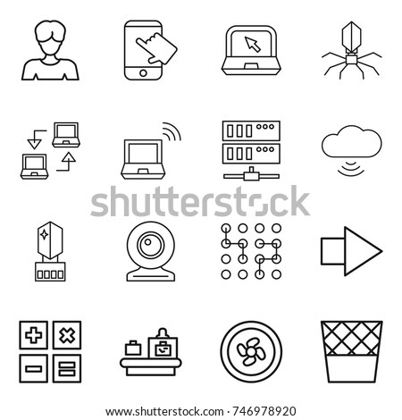 thin line icon set : woman, touch, notebook, virus, connect, wireless, server, cloud, crystall memory, web cam, chip, right arrow, calculator, baggage checking, cooler fan, trash bin