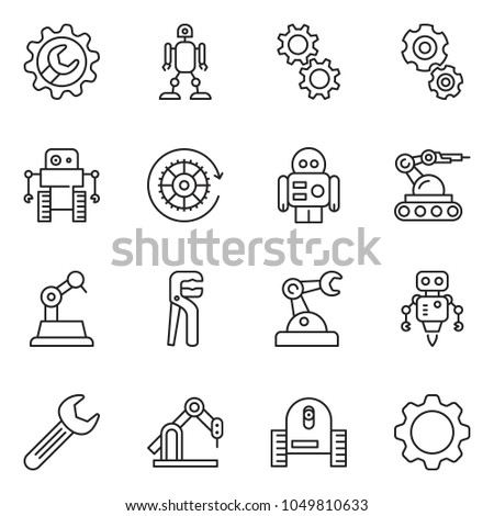 thin line icon set - wrench gear vector, adjustable, robot, manufacture #1049810633