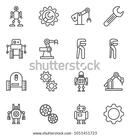 thin line icon set - wrench gear vector, adjustable, robot, manufacture #1051451723