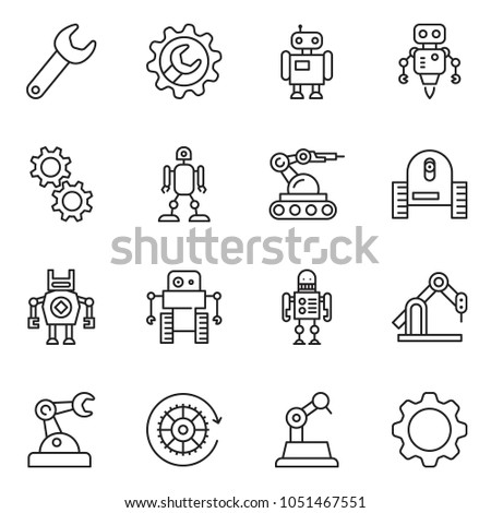 thin line icon set - wrench gear vector, robot, manufacture #1051467551