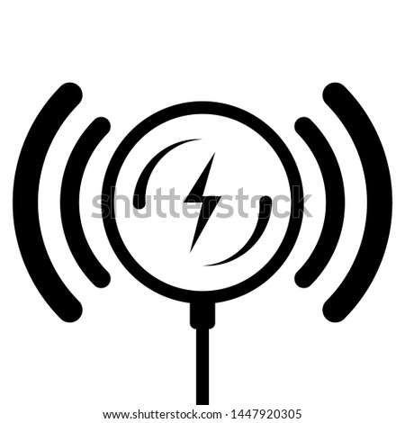 Thin line icon wireless charge. Wireless charging isolate on white background. Outline Icon Wireless charging of the smartphone battery. Editable Stroke.