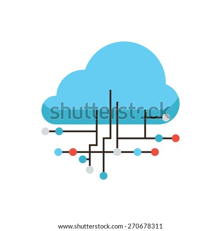 Thin line icon with flat design element of cloud computing connection, internet hosting technology, data link communication, network server storage. Modern style logo vector illustration concept.