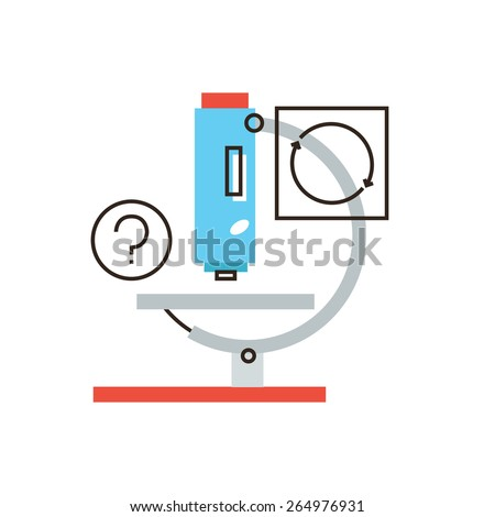 Thin line icon with flat design element of scientific analysis, medical microscope, lab test, laboratory instrument, research molecular level. Modern style logo vector illustration concept. Stockfoto ©