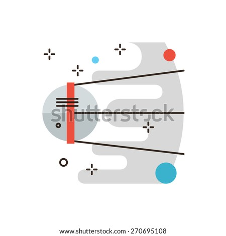 Thin line icon with flat design element of sputnik discovery travel, space research, cosmos exploration, astronomy mission, spaceship flying. Modern style logo vector illustration concept.