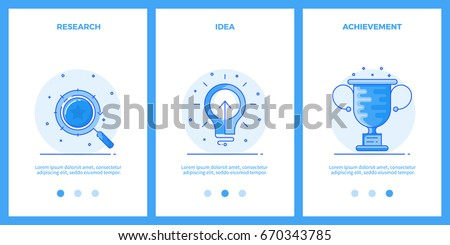 Thin line icons - business research, creative idea, achievement. Outline blue banners, screens for mobile apps and web sites. Vector illustration.