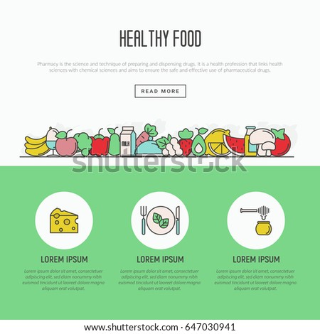 Thin line icons concept of organic food and fresh natural products, vegetarian groceries. Vector illustration for web site about healthy nutrition.