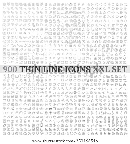 Thin line icons exclusive XXL icons set contains: universal  interface, navigation, people, web store, finance themes, and many other.