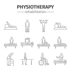 Thin line icons for physiotherapy, rehabilitation center. Physical exercise, gymnastics, massage, laser therapy, acupuncture. Design of web graphics.