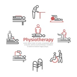 Thin line icons for physiotherapy, rehabilitation center. Vector signs for web graphics.