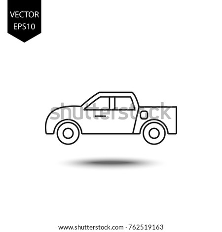 thin line icons for pickup truck,transportation,vector illustrations