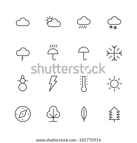 thin line icons for weather and