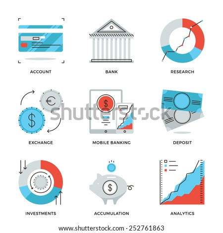 thin line icons of banking