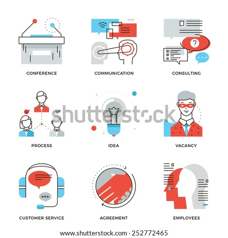 Thin line icons of business meeting, professional occupation, company consulting, people communication and deal agreement. Modern flat line design element vector collection logo illustration concept.