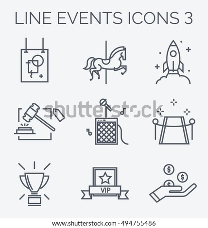 Thin line icons of events and special occasions organization. Corporate events: exhibition, carnival, product launch, auction, concert, grand opening, competition, vip, fundraising.