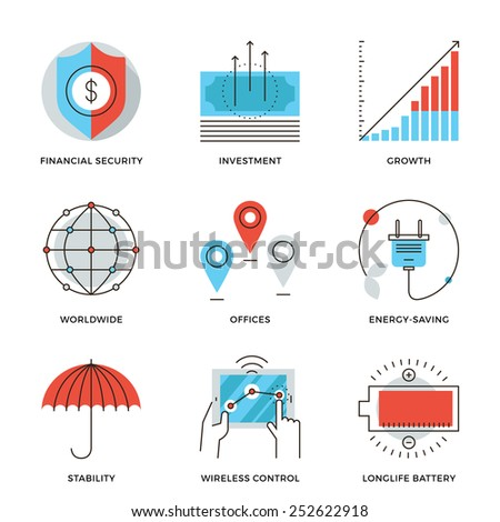 Thin line icons of worldwide corporate business, money growth chart, financial security, energy savings, company stability. Modern flat line design element vector collection logo illustration concept.