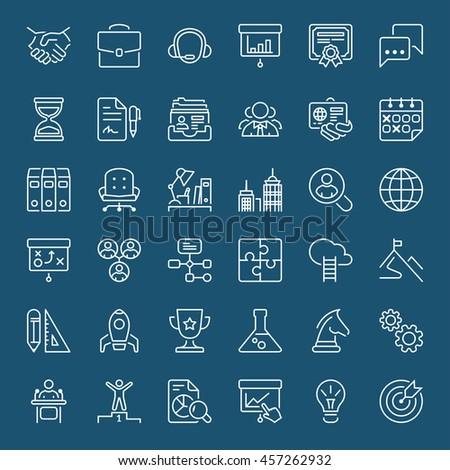 Thin line icons set. Flat symbols about business
