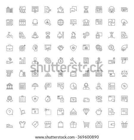 Thin line icons set. 100 flat symbols about business, finances and shopping