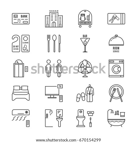 thin line icons set hotel and