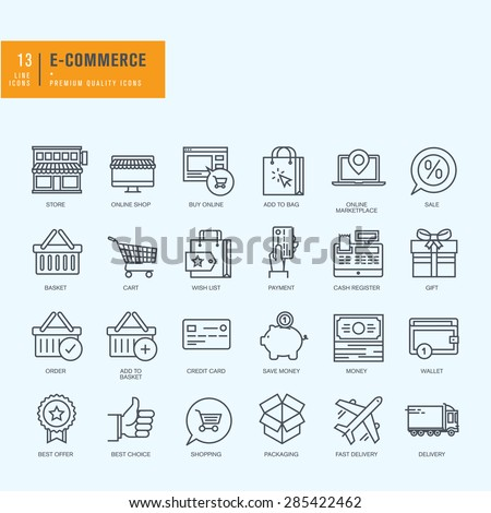 Thin line icons set. Icons for e-commerce, online shopping