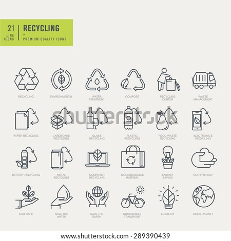 Thin line icons set. Icons for recycling, environmental.