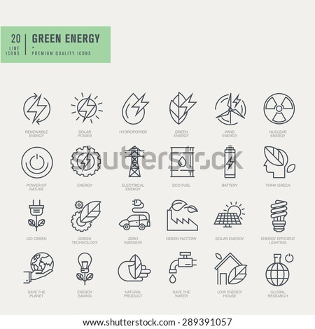Thin line icons set. Icons for renewable energy, green technology.