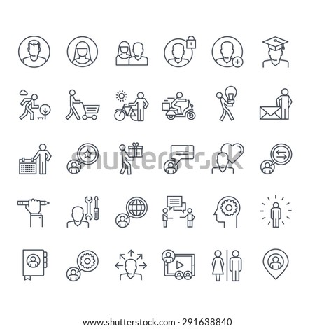 Thin line icons set. Icons for social media, marketing, online shopping, communication, social network, education, events, contact, service.