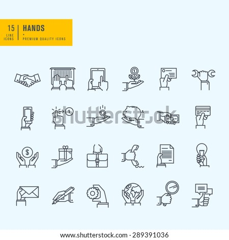 Thin line icons set. Icons of hand using devices, using money, in business situations, communication.