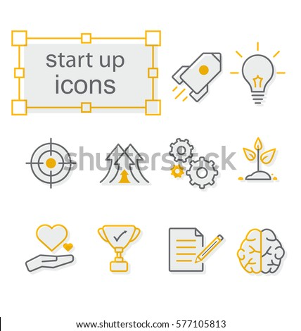 Thin line icons set, Linear symbols set,  Start up