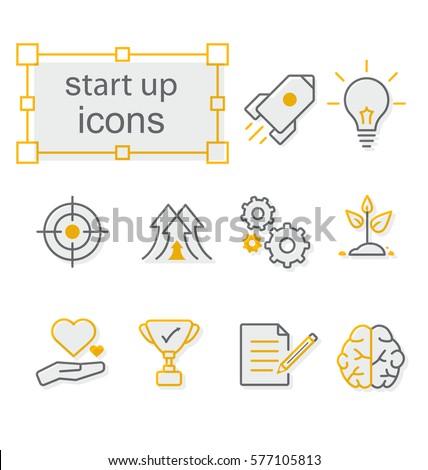 Thin line icons set, Linear symbols set,  Start up