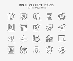 Thin line icons set of academic subjects and education. Outline symbol collection. Editable vector stroke. 64x64 Pixel Perfect.