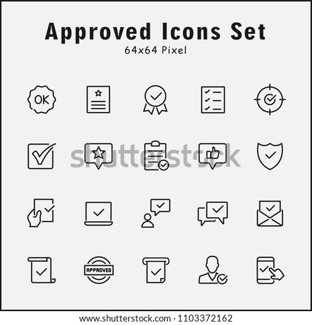 Thin line icons set of approved, Inspector, Stamp, Check List. Editable vector stroke 64x64 Pixel. #1103372162