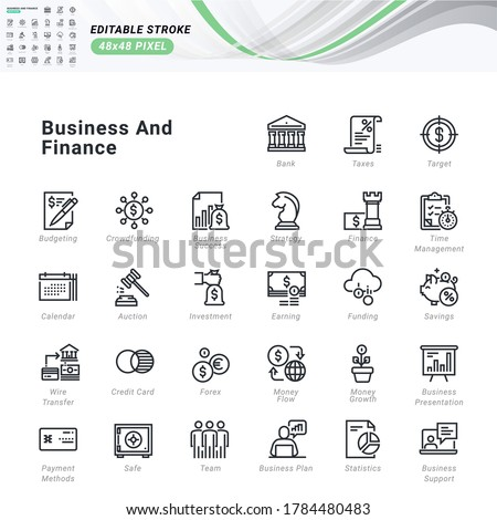 Thin line icons set of business and finance. Pixel perfect icons, editable stroke.