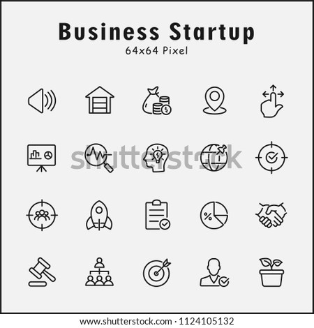 Thin line icons set of business startup. Editable vector stroke 64x64 Pixel. #1124105132