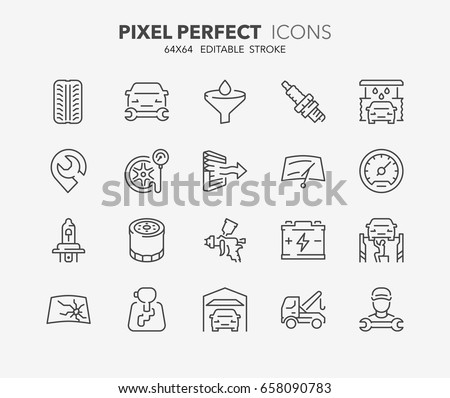 Thin line icons set of car repair-maintenance services and auto parts. Outline symbol collection. Editable vector stroke. 64x64 Pixel Perfect.